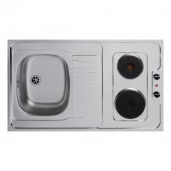 Dessus évier cuisinette électrique largeur 100 cm avec vidage complet