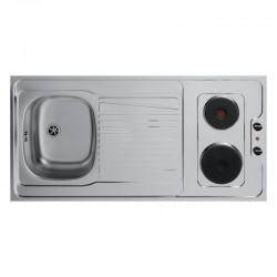 Dessus évier cuisinette électrique largeur 120 cm avec vidage complet