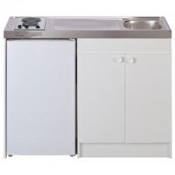 Évier cuisinette + domino élec_minuterie largeur 140 cm avec réfrigérateur DF116
