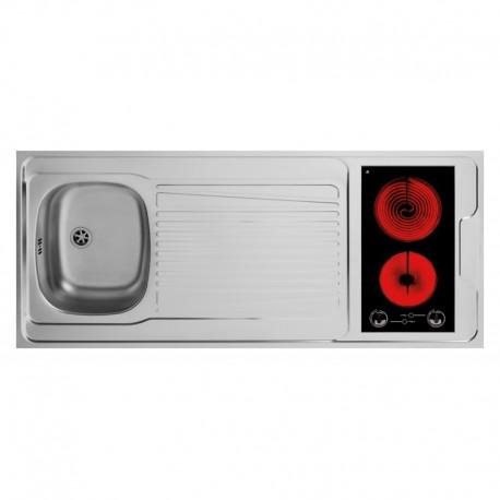 Dessus évier cuisinette + domino vitrocéramique largeur 140 cm avec vidage complet