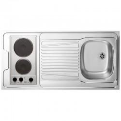 Dessus évier cuisinette + domino électrique + m largeur 120 cm avec vidage complet