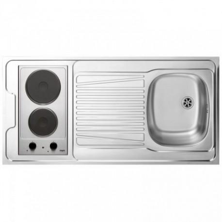 Dessus évier cuisinette + domino électrique largeur 120 cm avec vidage complet