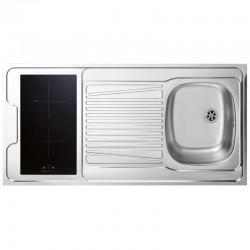 Dessus évier cuisinette + domino induction largeur 120 cm avec vidage complet