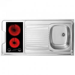 Dessus évier cuisinette + domino vitrocéramique largeur 120 cm avec vidage complet