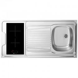 Dessus évier cuisinette + domino vitro avec minut largeur 100 cm avec vidage complet
