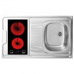 Dessus évier cuisinette + domino vitrocéramique largeur 100 cm avec vidage complet