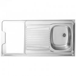 Dessus évier cuisinette sans domino largeur 120 cm avec vidage complet