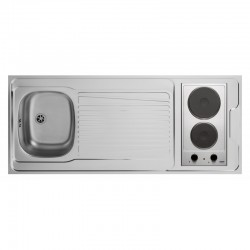 Dessus évier cuisinette + domino électrique largeur 140 cm avec vidage complet