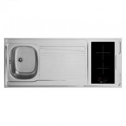 Dessus évier cuisinette + domino vitro avec minut largeur 140 cm avec vidage complet